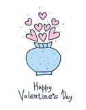 Συρμένη χέρι ανθοδέσμη των λουλουδιών καρδιών σε ένα βάζο Σχέδιο ημέρας του ευτυχούς βαλεντίνου Στοκ φωτογραφίες με δικαίωμα ελεύθερης χρήσης