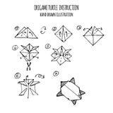 Συρμένη χέρι απεικόνιση βαθμιαία του origami χελωνών Στοκ Εικόνες