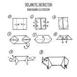 Συρμένη χέρι απεικόνιση βαθμιαία του origami χοίρων Στοκ Εικόνα