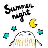 Συρμένη χέρι απεικόνιση θερινής νύχτας με χαριτωμένο marshmallow που εξετάζει τα αστέρια και το φεγγάρι διανυσματική απεικόνιση