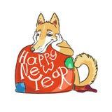 Συρμένη χέρι απεικόνιση με ένα σκυλί doodle σύμβολο και εγγραφή του 2018 διανυσματικό Στοκ φωτογραφία με δικαίωμα ελεύθερης χρήσης