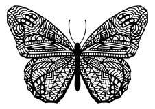 Συρμένη χέρι απεικόνιση πεταλούδων ύφους Zentangle Στοκ εικόνες με δικαίωμα ελεύθερης χρήσης