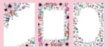 Συρμένη χέρι απεικόνιση ρυθμίσεων Watercolor floral Στοκ Φωτογραφία