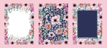 Συρμένη χέρι απεικόνιση ρυθμίσεων Watercolor floral Στοκ Εικόνες