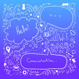 Συρμένη χέρι απεικόνιση σκίτσων - λεκτικές φυσαλίδες Επικοινωνία Στοκ Εικόνα