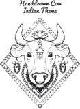 Συρμένη χέρι απεικόνιση της ινδικής αγελάδας Στοκ Φωτογραφίες