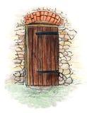 Συρμένη χέρι απεικόνιση της παλαιάς ξύλινης πόρτας χρωματισμένο στο μολύβι ύφος ελεύθερη απεικόνιση δικαιώματος