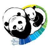 Συρμένη χέρι απεικόνιση του panda ύπνου Στοκ Εικόνες
