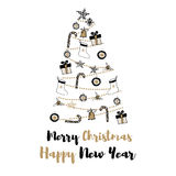 Συρμένη χέρι απεικόνιση χριστουγεννιάτικων δέντρων με τα δώρα και τα μπελ Στοκ Εικόνες
