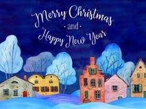 Συρμένη χέρι απεικόνιση watercolor Τοπίο χωρών χειμερινής νύχτας με τα παλαιά σπίτια και τα δέντρα απεικόνιση αποθεμάτων