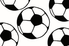 Συρμένη χέρι απλή απεικόνιση σφαιρών ποδοσφαίρου, μαύρο σχέδιο ο σφαιρών Στοκ Φωτογραφία