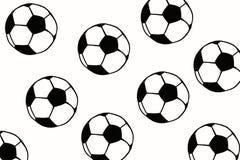 Συρμένη χέρι απλή απεικόνιση σφαιρών ποδοσφαίρου, μαύρο σχέδιο ο σφαιρών Στοκ Εικόνες