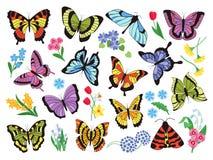 Χρωματισμένες πεταλούδες Συρμένη χέρι απλή συλλογή των πεταλούδων και των λουλουδιών που απομονώνονται στο άσπρο υπόβαθρο r διανυσματική απεικόνιση