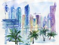 Συρμένη χέρι αραβική εικονική παράσταση πόλης εμιράτων Watercolor Ντουμπάι, περίπατος μαρινών, φοίνικας και ουρανοξύστης Στοκ Εικόνες