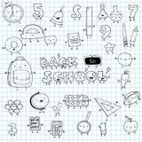 Συρμένη χέρι αστεία διανυσματική απεικόνιση σχολικών εικονιδίων doodle ελεύθερη απεικόνιση δικαιώματος