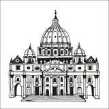 Συρμένη χέρι βασιλική του ST Peter, Βατικανό, Ρώμη, Ιταλία ελεύθερη απεικόνιση δικαιώματος