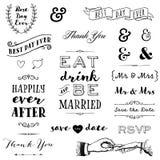Συρμένη χέρι γαμήλια τυπογραφία ελεύθερη απεικόνιση δικαιώματος