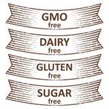 Συρμένη χέρι γλουτένη ελεύθερη, ζάχαρη ελεύθερη, γαλακτοκομείο ελεύθερο, ελεύθερο σχέδιο εμβλημάτων ΓΤΟ απεικόνιση αποθεμάτων