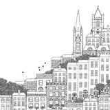 Συρμένη χέρι γραπτή απεικόνιση του Δουβλίνου Στοκ Εικόνες