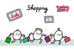 Συρμένη χέρι διανυσματική απεικόνιση αγορών Άνθρωποι που τρέχουν στις ημέρες πώλησης Χαριτωμένος μινιμαλισμός απεικόνιση αποθεμάτων