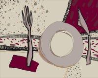 Συρμένη χέρι διανυσματική απεικόνιση επιτραπέζιου σκεύους Διακοσμητικό doodle των εργαλείων κουζινών απεικόνιση αποθεμάτων