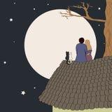 Συρμένη χέρι διανυσματική απεικόνιση της αγάπης της συνεδρίασης ζευγών στη στέγη, που εξετάζει το φεγγάρι κάτω από τα αστέρια στο διανυσματική απεικόνιση