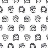 Συρμένη χέρι διανυσματική απεικόνιση του σχεδίου κοριτσιών και αγοριών προσώπου στοκ εικόνες με δικαίωμα ελεύθερης χρήσης