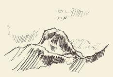 Συρμένη χέρι διανυσματική απεικόνιση ύφους λογότυπων βουνών Στοκ Εικόνες