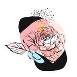 Συρμένη χέρι διανυσματική αφηρημένη δημιουργική ασυνήθιστη απεικόνιση με το γραφικό peony λουλούδι στα χρώματα κρητιδογραφιών χέρ Στοκ Φωτογραφία