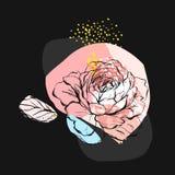 Συρμένη χέρι διανυσματική αφηρημένη δημιουργική ασυνήθιστη απεικόνιση με το γραφικό peony λουλούδι στα χρώματα κρητιδογραφιών χέρ Στοκ φωτογραφία με δικαίωμα ελεύθερης χρήσης