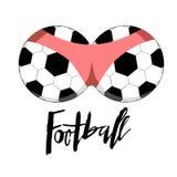 Συρμένη χέρι εγγραφή ποδοσφαίρου για ένα φλυτζάνι ποδοσφαίρου, πρωτάθλημα ποδοσφαίρου Στοκ Εικόνα