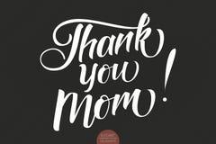 Συρμένη χέρι εγγραφή - σας ευχαριστήστε Mom Κομψή σύγχρονη χειρόγραφη καλλιγραφία με το ευγνώμον απόσπασμα για την ημέρα μητέρων  Στοκ φωτογραφίες με δικαίωμα ελεύθερης χρήσης