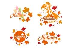 Συρμένη χέρι εγγραφή φθινοπώρου, χρωματισμένη έννοια φθινοπώρου που απομονώνεται στο άσπρο υπόβαθρο, έγχρωμη εικονογράφηση των φύ στοκ εικόνα