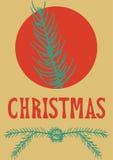 Συρμένη χέρι εγγραφή χαιρετισμού Χριστουγέννων καρτών Χριστουγέννων Στοκ Εικόνα