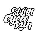 Συρμένη χέρι εγγραφή Triathlon, απόσπασμα: Κολυμπήστε ισχυρό, κύκλος γρήγορα, τρέξιμο που κερδίζει Στοκ Εικόνες