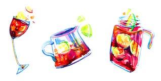 Συρμένη χέρι εκφραστική απεικόνιση Watercolor με τα γυαλιά και τα βάζα sangria Στοκ Εικόνες