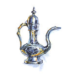 Συρμένη χέρι εκλεκτής ποιότητας ασημένια κανάτα Παλαιά αραβική παλαιά κανάτα Watercolor Στοκ εικόνα με δικαίωμα ελεύθερης χρήσης