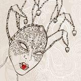 Συρμένη χέρι ενετική μάσκα καρναβαλιού Στοκ Εικόνες