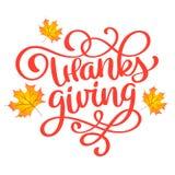 Συρμένη χέρι ευτυχής αφίσα τυπογραφίας ημέρας των ευχαριστιών Αναφορά εορτασμού για την κάρτα, την κάρτα, το λογότυπο εικονιδίων  Στοκ φωτογραφία με δικαίωμα ελεύθερης χρήσης