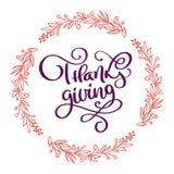 Συρμένη χέρι ευτυχής αφίσα τυπογραφίας ημέρας των ευχαριστιών Αναφορά εγγραφής εορτασμού για τη ευχετήρια κάρτα, κάρτα, εικονίδιο Στοκ Εικόνες