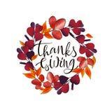 Συρμένη χέρι ευτυχής αφίσα τυπογραφίας ημέρας των ευχαριστιών γράφοντας ελεύθερη απεικόνιση δικαιώματος
