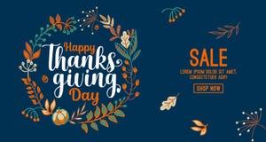 Συρμένη χέρι ευτυχής τυπογραφία ημέρας των ευχαριστιών στο έμβλημα στεφανιών φθινοπώρου Κείμενο εορτασμού με τα μούρα και τα φύλλ διανυσματική απεικόνιση