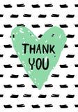 Συρμένη χέρι ευχετήρια κάρτα ημέρας των ευχαριστιών με τις σταγόνες, την καρδιά και την εγγραφή μελανιού στοκ εικόνα