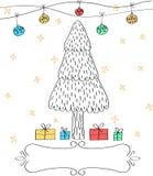 Συρμένη χέρι ευχετήρια κάρτα Χριστουγέννων Στοκ Εικόνα