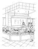 Συρμένη χέρι ζωηρόχρωμη απεικόνιση τμημάτων ψαριών εσωτερικό καταστημάτων με τους αγοραστές απεικόνιση αποθεμάτων