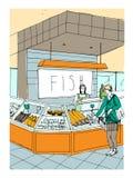 Συρμένη χέρι ζωηρόχρωμη απεικόνιση τμημάτων ψαριών εσωτερικό καταστημάτων με τους αγοραστές διανυσματική απεικόνιση