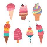 Συρμένη χέρι θερινή συλλογή κώνων παγωτού κρητιδογραφιών ελεύθερη απεικόνιση δικαιώματος