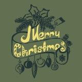 Συρμένη χέρι διακόσμηση Χαρούμενα Χριστούγεννας απεικόνιση αποθεμάτων