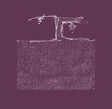 Συρμένη χέρι διανυσματική απεικόνιση αμπέλων και χώματος Στοκ Εικόνες