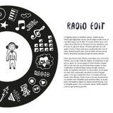 Συρμένη χέρι διανυσματική απεικόνιση μουσικής Εικονίδια σκίτσων μουσικής με meloman Πρότυπο για το ιπτάμενο, έμβλημα, αφίσα, φυλλ Στοκ Εικόνες